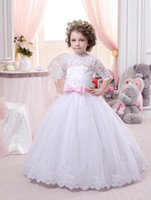 Wholesale Lace Collar Shirts For Girls - 2016 New Lovely High Neck Half Sleeves Lace Ball Gown Flower Girls Dresses Tulle Floor Length Girls Pageant Gowns for Party