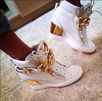 kettenschnürsenkel großhandel-Heiße Frauen Höhe Zunehmende Marke Schuhe Lace-Up Hohe Turnschuhe Top-qualität Metall kette Weiblichen Knöchel Casual Wedges Schuhe Zapatos Mujer 35-42