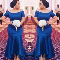 Wholesale hi low prom dresses sleeves - African Royal Blue Plus Size Bridesmaid Dresses 2018 Satin Short Sleeves Mermaid Maid Of Honor Gowns High Low Wedding Guest Prom Party Dress