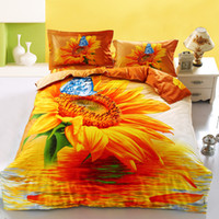 Wholesale Sunflower Cotton Duvet Set - Wholesale-Golden sunflowers bedding sets 4pcs for king queen size 100%cotton bed duvet quilt cover butterfly 3d bedsheet linens bedcover