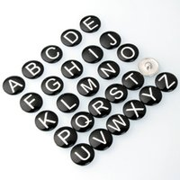 Wholesale New letters A Z mm noosa glass Cute cartton noosa Snap Button Jewelry Accessories Interchangeable Jewelry E91L