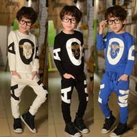 Wholesale long t shirts for boys - Children clothes boys character suit set 100% cotton T-shirt+pants 2 pieces set 3 color for 2~7 years old children 5s l