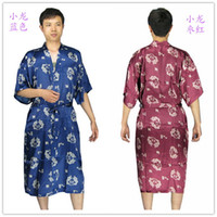 Wholesale Traditional Chinese Robes - new arrival Mens rayon silk Robe Pajama Lingerie Nightdress Kimono Gown pjs sleepwear Chinese traditional dprint 6 color#3799