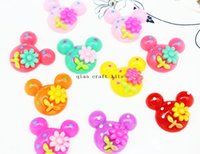 Wholesale Bow Flatbacks - 120pcs 30mm Minnie mouse Shape Cabochons Resin Flatbacks Scrapbooking Girl Hair Bow Center Crafts Making DIY