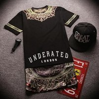 Compra Camicie Underaged-Camisetas Hip Hop Underated London Bandana Shirt Uomo Donna Gold Side Zipper T-shirt estesa KTZ Manica corta T lunghe Tops