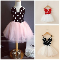 Wholesale Dotted Veil - Girls Summer Dresses Dot Mickey Dresses Skirt With Shoulder-straps Veil Tulle Dresses Baby Girls Summer Clothing Dress