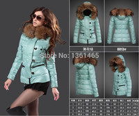 Wholesale women hooded fur coat xxl - Wholesale-2015 Hot-Selling Women Winter Short Down Parkas Jacket Candy-Color High Quality Hooded Fur Collar Coats S-XXL