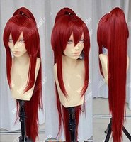 Wholesale Ponytails Red Long - Wholesale cheap Fairy Tail Erza Scarlet Dark Red Cosplay Party Wig w  Ponytails +1 ponytail