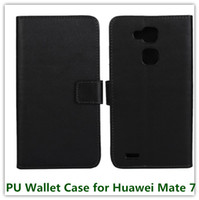 Wholesale Huawei Ascend Mate Free Shipping - 1PCS Fashion Black PU Leather Mulit Stand Folding Money Wallet Case for Huawei Ascend Mate 7 with ID Card Holder Free Shipping
