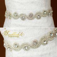 ceinture en tulle strass achat en gros de-2020 pas cher robes de mariée ceintures populaires beaux accessoires de mariée cristaux strass robe de mariée ceinture pour la noce XNYD001-R