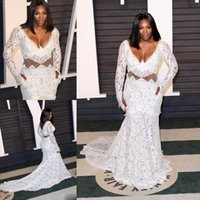 Wholesale Serena White Dress - 2016 Oscars Plus Size Formal Dresses Long Sleeves Lace Applique Mermaid Prom Dress Deep V Neck Serena Williams Spring Evening Party Gowns