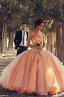 Wholesale Dress Quinceanera Organza Strapless - New Sexy Peach Strapless Organza Ball Gown Quinceanera Dresses Floral Colorful Winter 2014 Wedding Dresses Beaded Crystals Tulle BO3000 2015