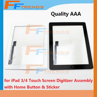 Wholesale Sticker Ipad - for iPad 2 3 4 Touch Screen Digitizer Assembly with Home Button and Stickers Replacement Repair Parts Glass Touch Panel Black White