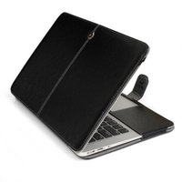 Black PU Leather Case Cover Bag Sleeve Case para Macbook Air 11 13 Pro 13.3 15.4 Retina 12 Inch