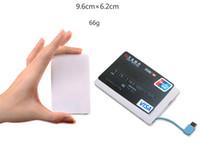 2600mah power bank оптовых-2600mAh Ultra Thin Кредитная карта Банк питания 2500mAh USB Продвижение PowerBank со встроенным USB-кабель резервного чрезвычайным Супер свет маленький