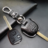 Wholesale accessories for rav4 - leather lexus Buttons Car Key Shell Case cover for Toyota Corolla RAV4 PRADO YARIS land cruiser key holder wallet keychain accessories