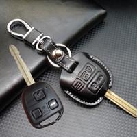 porta-chaves de carro para toyota venda por atacado-Lexus de couro 2 3 Botões Chave Do Carro Shell Case capa para Toyota Corolla RAV4 PRADO YARIS land cruiser chave titular carteira chaveiro acessórios