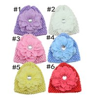 Wholesale Crochet Hair Accessories For Girls - Newest 10pcs lot Soft Stretch Crochet Baby Hats for girls Baby Cap with Peony Flowers NO Clips Children Hair Accessories HA0373