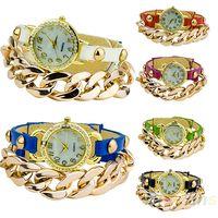 goldkette lederarmbänder großhandel-Wholesale-Womens Punk Style Multicolor Gold überzogene Leder Strass Band Acryl Kette Armband Kleid Uhr 1O4H