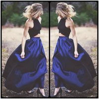 Wholesale Two Pieces Blouses - 2016 Sharp Blue Colour Long Skirt and Black Blouse Two Pieces Prom Dresses Elegant Evening Dresses Wear
