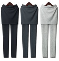Wholesale Sexy Silver Leggings - Wholesale Grey Black Sexy slim fit stretch leggings with mini skirts fashion women's false two-piece legging Free Shipping GG051