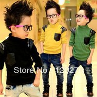 Wholesale Baby Toddler High Top - Wholesale-Free Shipping Autumn Baby Boys Long-sleeved PU Leather Patchwork High Collar T-shirt Toddlers Tees Children's Tops Upper