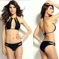 Wholesale Cool Swimwear Bikinis - 2015 Hot New Sexy biquini bathing suit Summer Cool Cut outs Halter Bikini Set with Strings Black women's swimwear push up Bikin