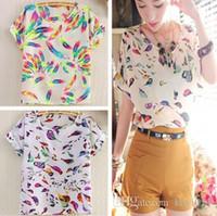Wholesale Ladies Blouses Sale - New fashion 2016 Hot Sale Women Bird Feathers Colorful Chiffon blouse shirt lady fashion Batwing short sleeve Loose Blouse S-XL