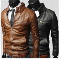 Wholesale faux leather black jacket - Free shipping NEW Fashion Men's leather motorcycle coats jackets washed leather coat