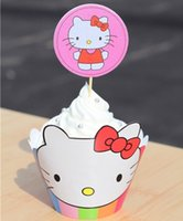 Wholesale cupcakes wrappers - Movie Hello Kitty Cupcake Wrapper Decorating Boxes Cake Cup With Toppers Picks For Kids Birthday Christmas Decorations Supplies