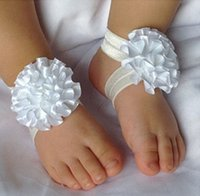 Wholesale Baby Foot Flowers Toddler - Toddler Baby Sandals Ribbon Flower Shoes Cover Barefoot Foot Flowers Ties Infant Children Girl Kids First Walker Shoes Photography props
