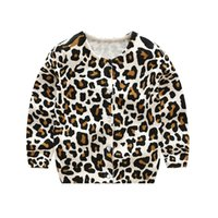 Wholesale Girls Cardigans Sweaters - Kids Knitted Leopard Cardigan O-neck Crystal Buttons Single Breasted Leopard Printed Sweater Spring Autumn Baby Boy Girls 2-6T