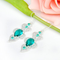 Bijoux pour fête - 2pairs / Lot Lucky Shine unique Drop Green Quartz Crystal Gemstone 925 sterling Silver Drop Earrings Russia Wedding Earrings