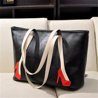 Wholesale High Heels Decorations - Large Capacity Designer Ladies Totes Two Tone Vintage Leather Handbags High Heels Decoration Affordable Ladies Bags for 24