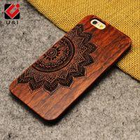 Wholesale Skull Phone Iphone Cases - Luxury Mandala Wood Phone Case for iPhone 5 5s 6 6s 6plus 6splus 7 7plus plus Red Retro Flower Skull Protector Back Cover