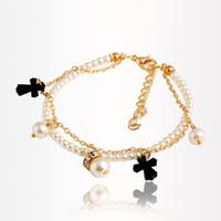 Wholesale Tassel Bracelet Cross - Romantic Party Refinement Girl's Bracelets Cross Zircon Tassels Double-Deck Alloy&Pearl Chain Adjustable Bracelet For Women PT36