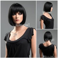 Wholesale Ladies Kanekalon Wigs - short black women wigs bob wigs japanese wigs ladies wigs Synthetic fiber of 100% Kanekalon 1pc Lot Free Shipping 0729S1325-1