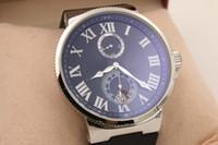 Wholesale Mechanical Time - Automatic Chronometer Men's Wristwatch Glass Transparent Back 45mm Marine Watch Black Rubber Belt Platinum SkeletonOriginal Clasp Male Watch