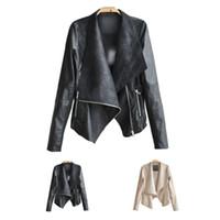 Wholesale Long Thin Leather Coat Women - Women's PU leather motorcycle jacket lady punk soft thin jacket coat lapels