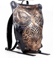 Wholesale Rock Punk Style Bags - Fashion men women leather 3D owl backpack style luxury unisex Metallic shell bag punk cartoon bags Chirstmas party gift