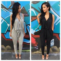 Wholesale Womens Gray Jumpsuits - Polyester Sashes Regular Casual Fashion Deep V-Neck Sexy Summer 2015 Rompers Womens Jumpsuit for Women Black Gray S M L XL