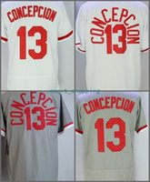 2018 Flexbase # 13 Dave Concepcion Home Away Camiseta de béisbol Blanco Rojo Gris 1990 Turn back Cool Base Cosido Jerseys