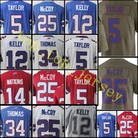 Wholesale Kelly Thomas - stitched #25 LeSean McCoy 5 Tyrod Taylor jersey Men 12 Jim Kelly 34 Thurman Thomas 99 Marcell Dareus jerseys Free Shipping