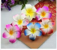 Wholesale Wholesale Hawaii Flowers Hair Clips - 30%off 100pcs lot Hawaii beach vacation Frangipani Flower Artificial flowers Bridal Wedding Party foam Hair Clip Plumeria hair accessories
