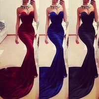 Wholesale Dress Costom Make - Sexy Mermaid Prom Dresses 2015 Sweetheart Costom Made Court Train Plus Size Royal Blue High Quality Velvet Formal Prom Evening Gowns