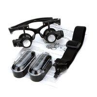 regarder les lunettes de réparation grossir achat en gros de-Gros-10X 15X 20X 25X loupe binoculaire loupe loupe avec LED lumière pour bijoux évaluation de réparation de montres