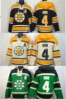 old time hockey hoodie 3xl 2018 - New Men's Boston Bruins hooded Jerseys 4 Bobby Orr Black Old Time Hockey Hoodies Sweatshirts Wholesale M--3XL