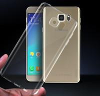 galaxy s5 cristal transparente al por mayor-Transparente gel de TPU Crystal Clear 0.5mm Ultradelgada funda de silicona suave para Samsung Galaxy S5 S6 S7 S8 Plus Nota 3 4 5 8 A3 A5 A7 A8 E5 E7