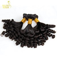 Wholesale human hair weave extensions uk online - 3PCS Grade A Aunty Funmi Hair Unprocessed Virgin Mongolian Human Hair Weave Bundles Bouncy Spring Curls Hair Extensions FOR UK Nigerian