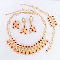 Wholesale Ruby Gold Fashion Jewelry - 24K Gold Plated Red Crystal Ruby Necklace Earrings Bracelet Ring Fashion Jewelry Sets 706 Gold Jewellry Set Women Party Dress Necklace Set